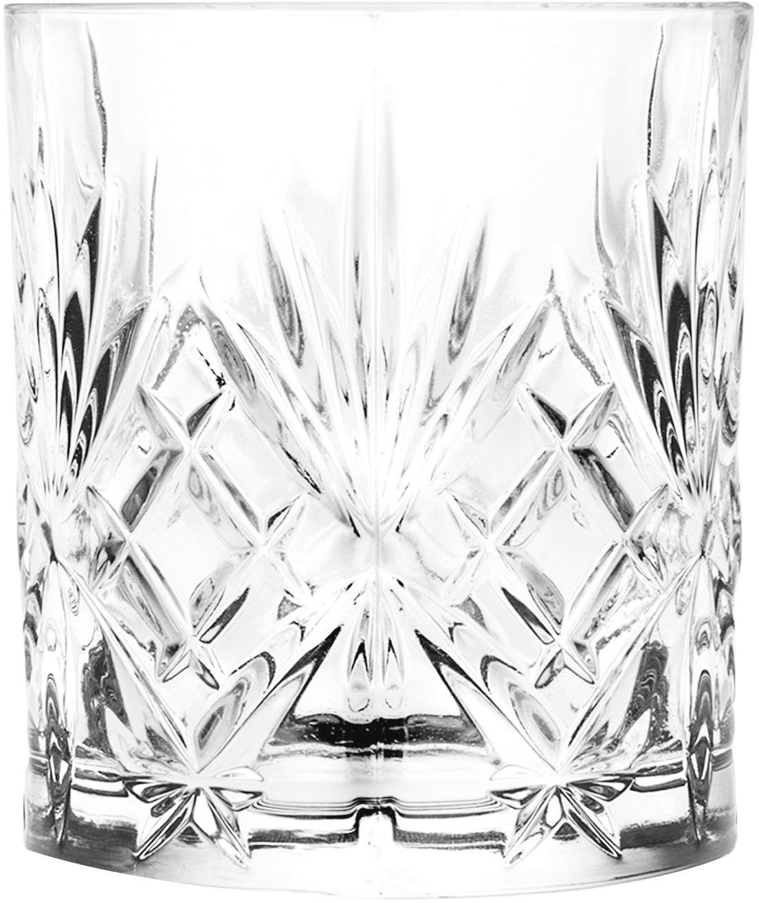 Verres à whisky en cristal à motifs embossés Bichiera, 4élém., Transparent