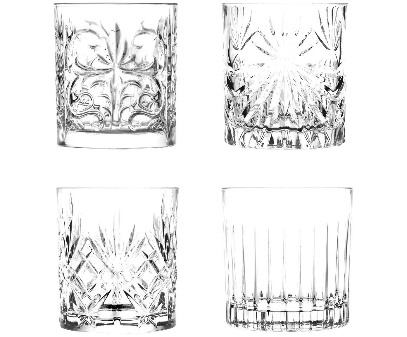 Kristallen wiskeyglazenset Bichiera, 4-delig, Kristalglas, Transparant, Ø 8 x H 9 cm