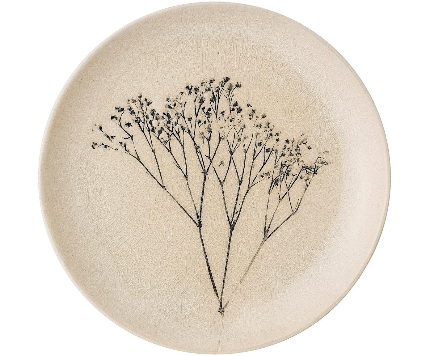Handgefertigter Frühstücksteller Bea mit Gräser-Motiv, Steingut, Beige, Mehrfarbig, Ø 22 cm