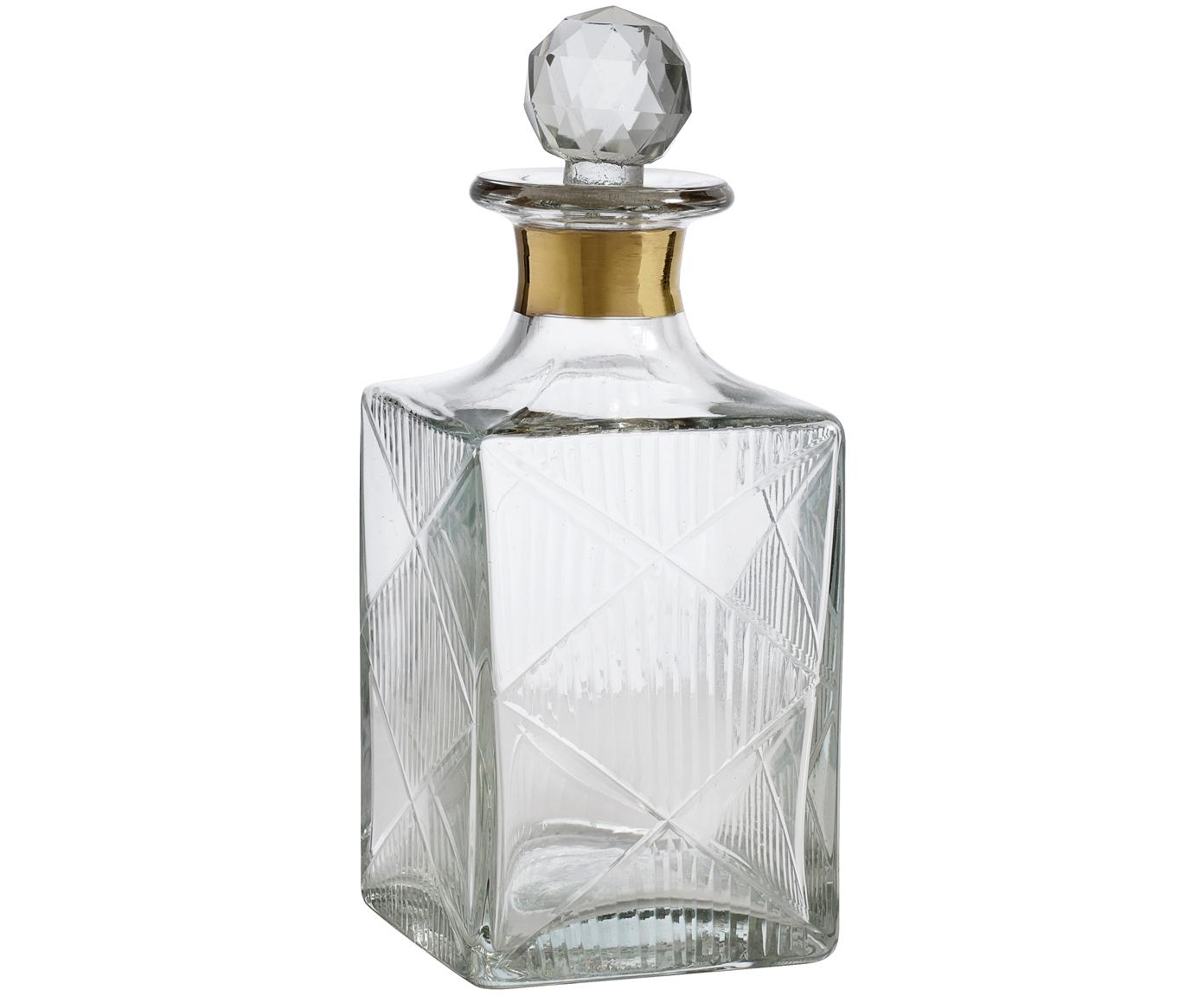 Karaf Diamond, Glas, Transparant. Rand: goudkleurig, H 19 cm