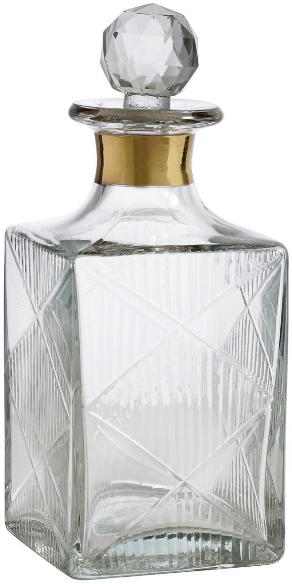 Bottiglia da liquore in vetro Diamond, Vetro, Trasparente Bordo: dorato, Alt 19 cm