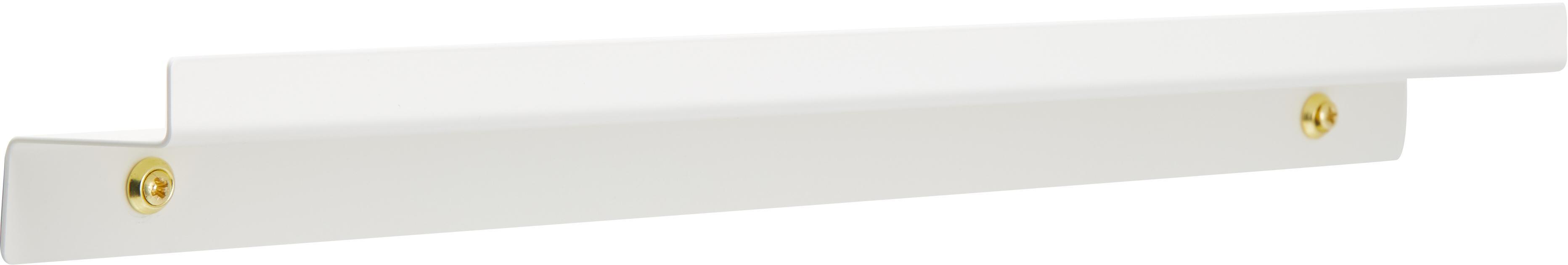 Portafotografie stretto in bianco Shelfini, Asta: metallo verniciato, Bianco, ottone, Larg. 50 x Alt. 6 cm