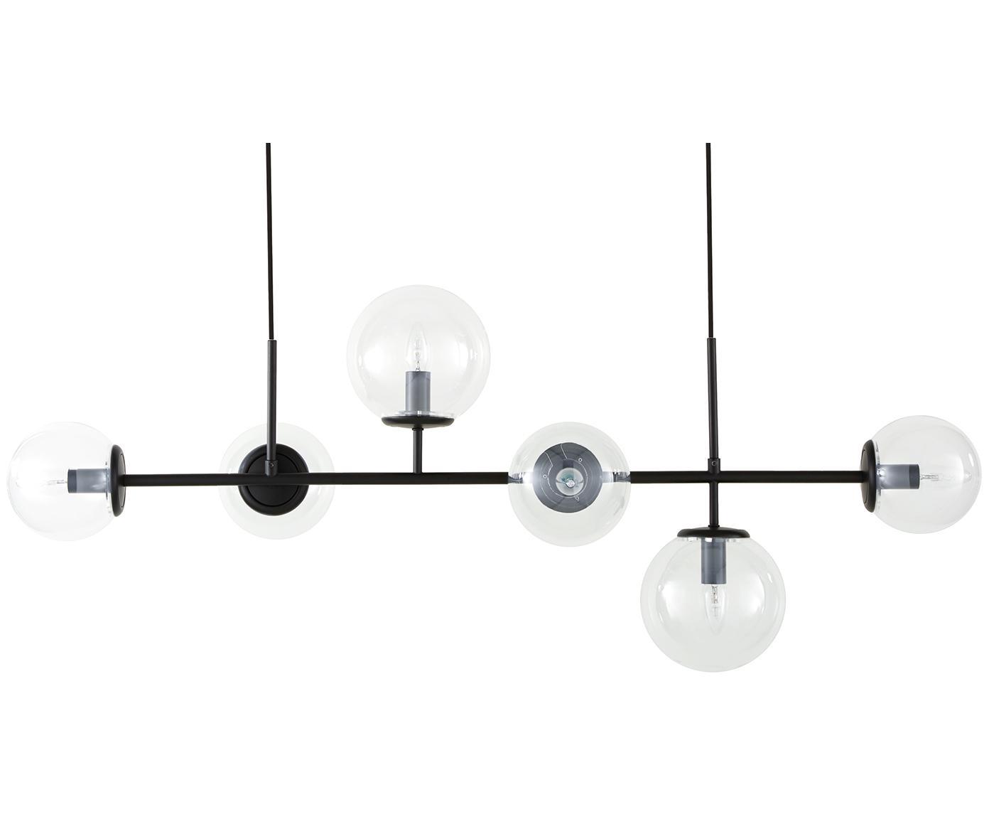 Lampada a sospensione Casey, Paralume: vetro, Nero, Larg. 120 x Alt. 157 cm
