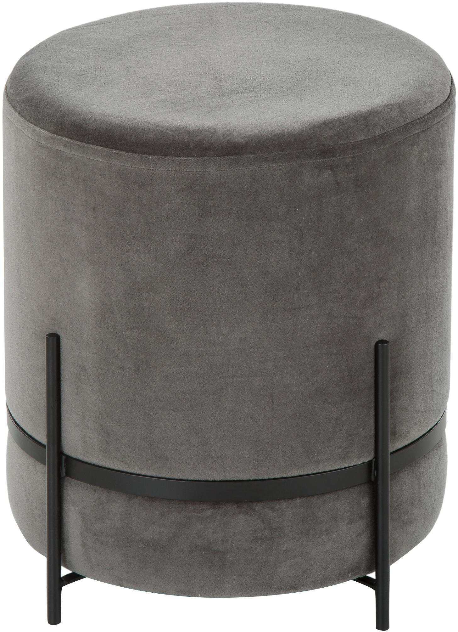 Puf de terciopelo Haven, Tapizado: terciopelo de algodón, Patas: metal con pintura en polv, Gris, negro, Ø 38 x Al 45 cm