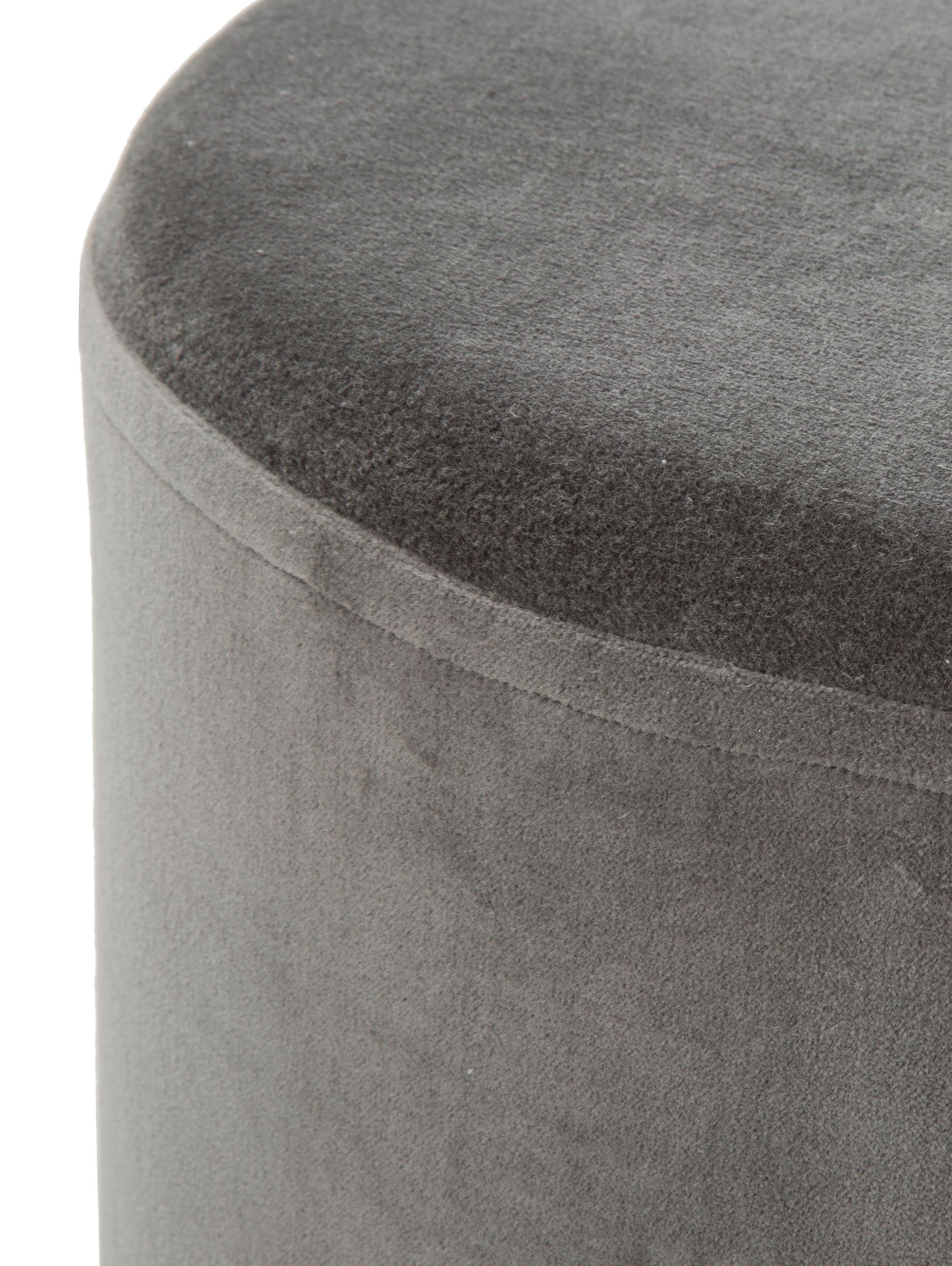Pouf in velluto Haven, Rivestimento: velluto, Grigio, nero, Ø 38 x A 45 cm