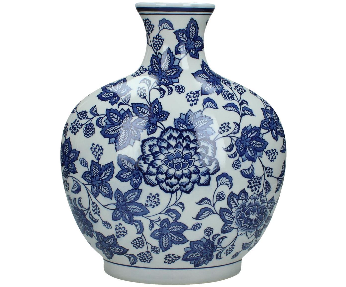 Jarrón de cerámica Blue Flowers, Cerámica, Blanco crudo, azul, An 26 x Al 32 cm