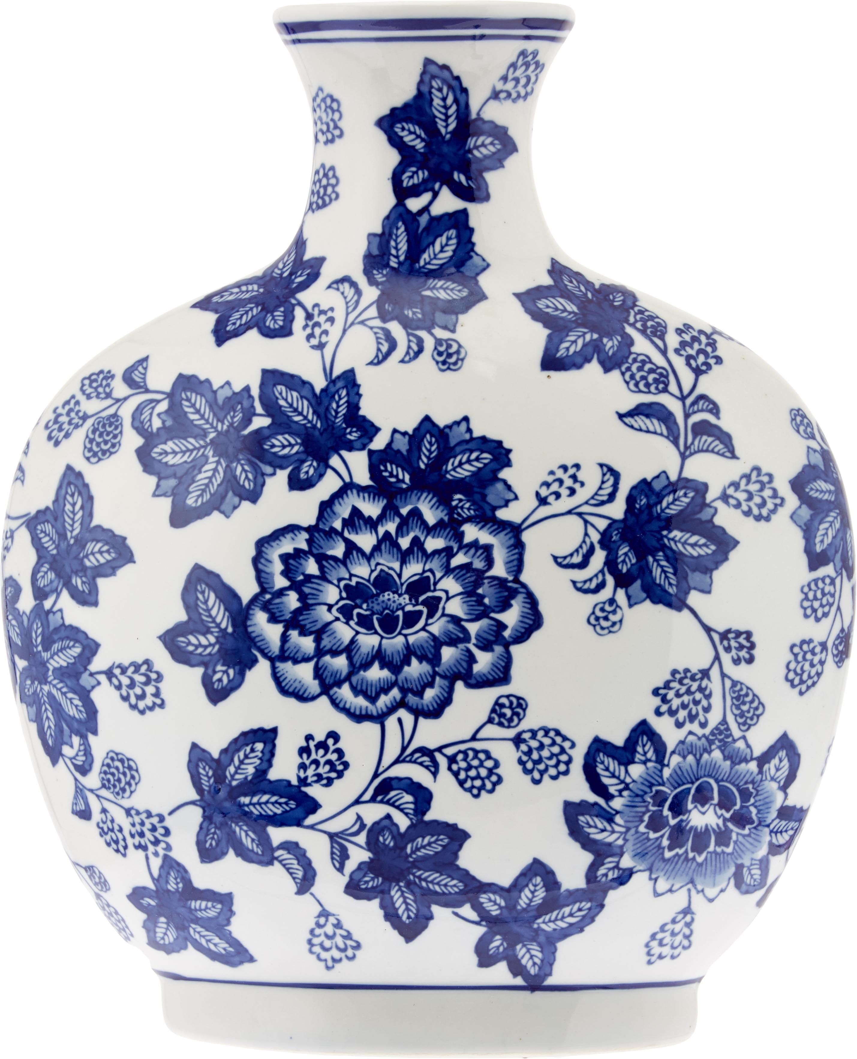 Vaso in ceramica Blue Flowers, Ceramica, Bianco latteo, blu, Larg. 26 x Alt. 32 cm