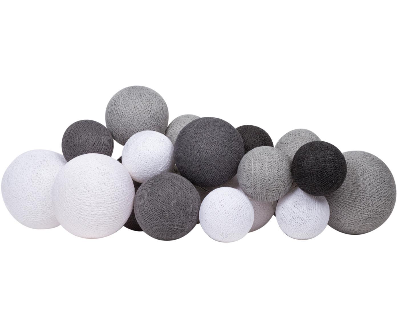 LED Lichterkette Moodi, Lampions: Polyester, Grautöne, Weiß, L 264 cm