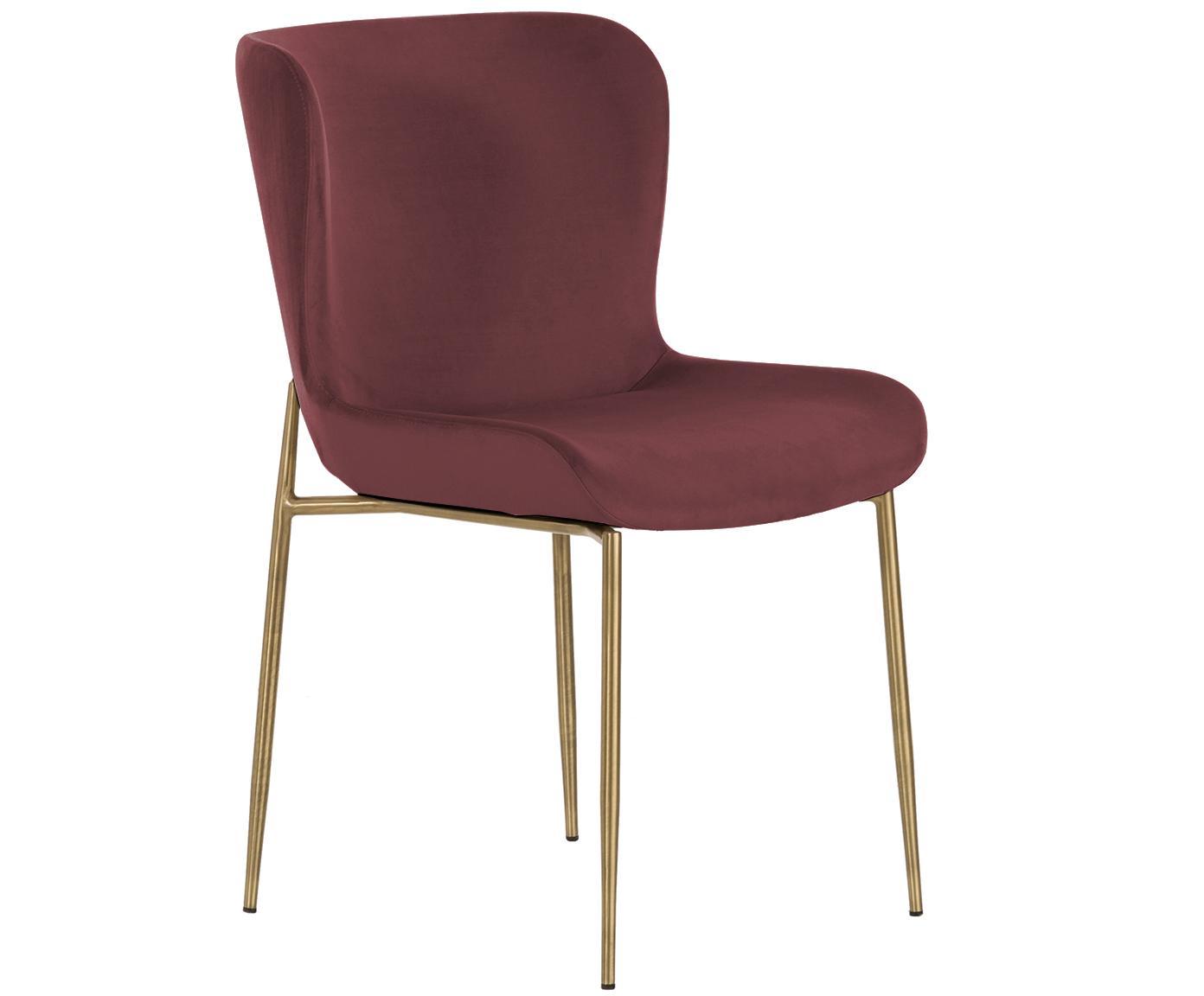 Sedia imbottita in velluto Tess, Rivestimento: velluto (poliestere) 30.0, Gambe: metallo rivestito, Velluto Bordeaux, gambe oro, Larg. 48 x Alt. 64 cm