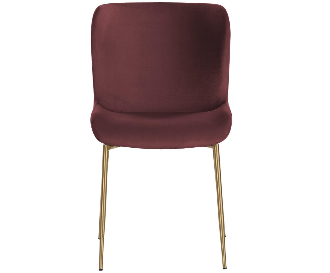 Chaise velours rembourré Tess, Velours bordeaux, pieds or