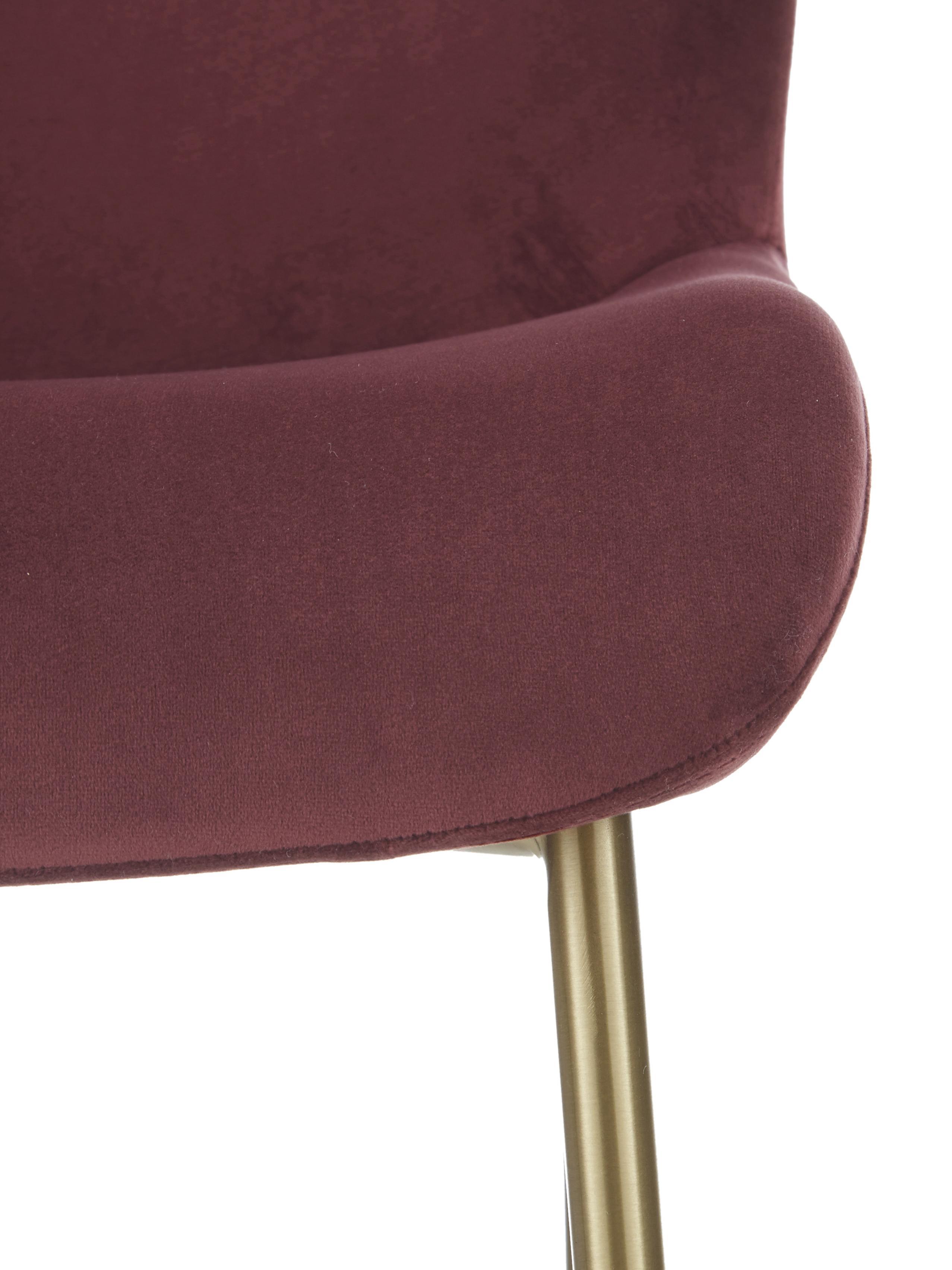 Samt-Polsterstuhl Tess, Bezug: Samt (Polyester) 30.000 S, Beine: Metall, beschichtet, Samt Bordeaux, Beine Gold, B 48 x T 64 cm