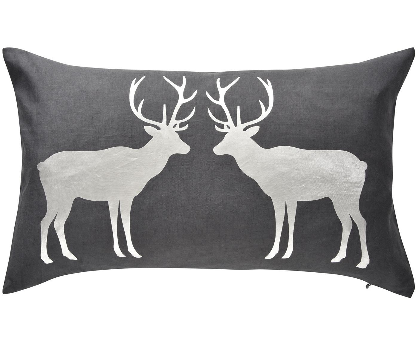 Kussenhoes Forrest met glanzend hertpatroon, 55% linnen, 45% katoen, Antraciet, zilvergrijs, 35 x 60 cm