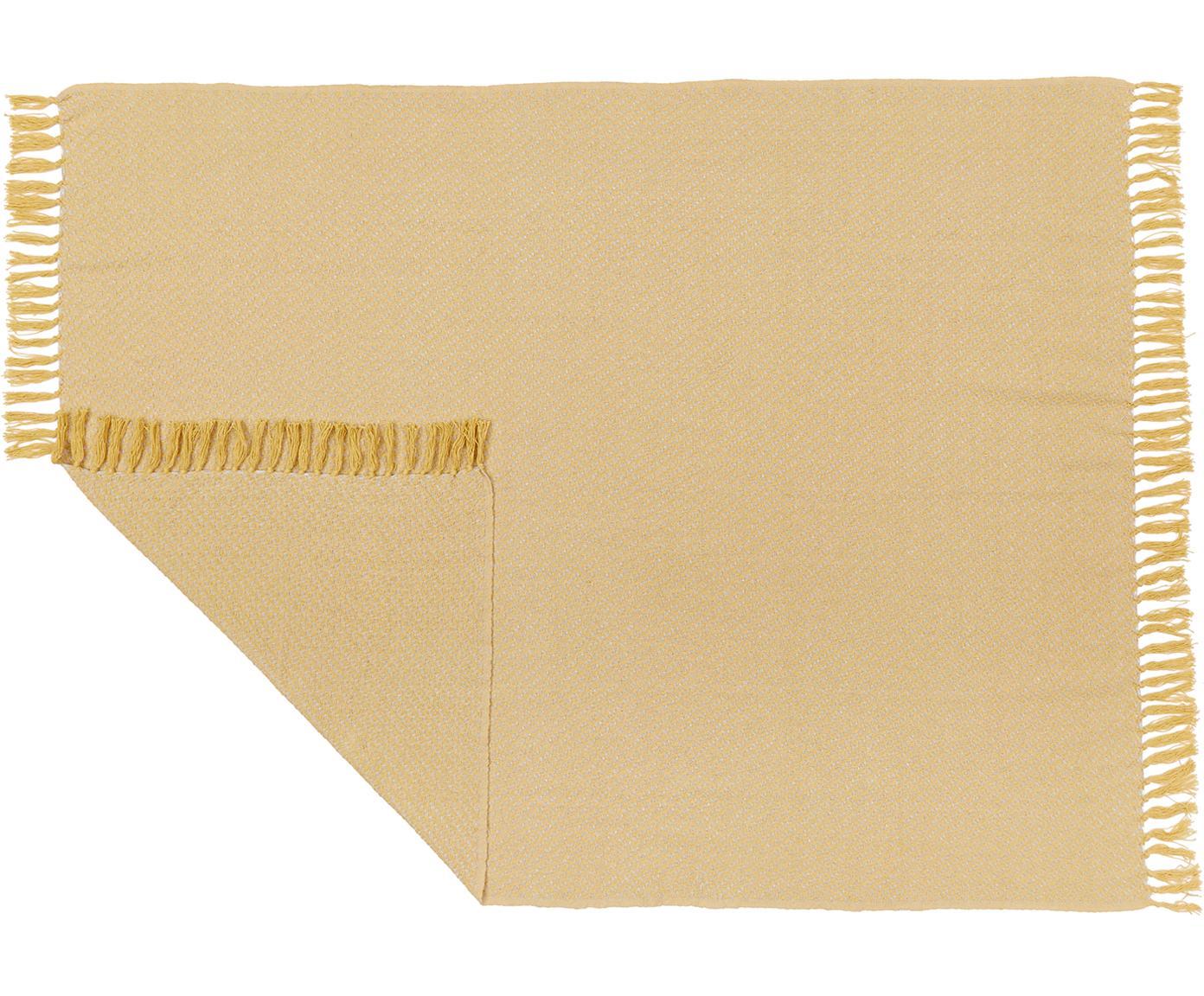 Pled Check, Bawełna, Beżowy, żółty, S 130 x D 170 cm