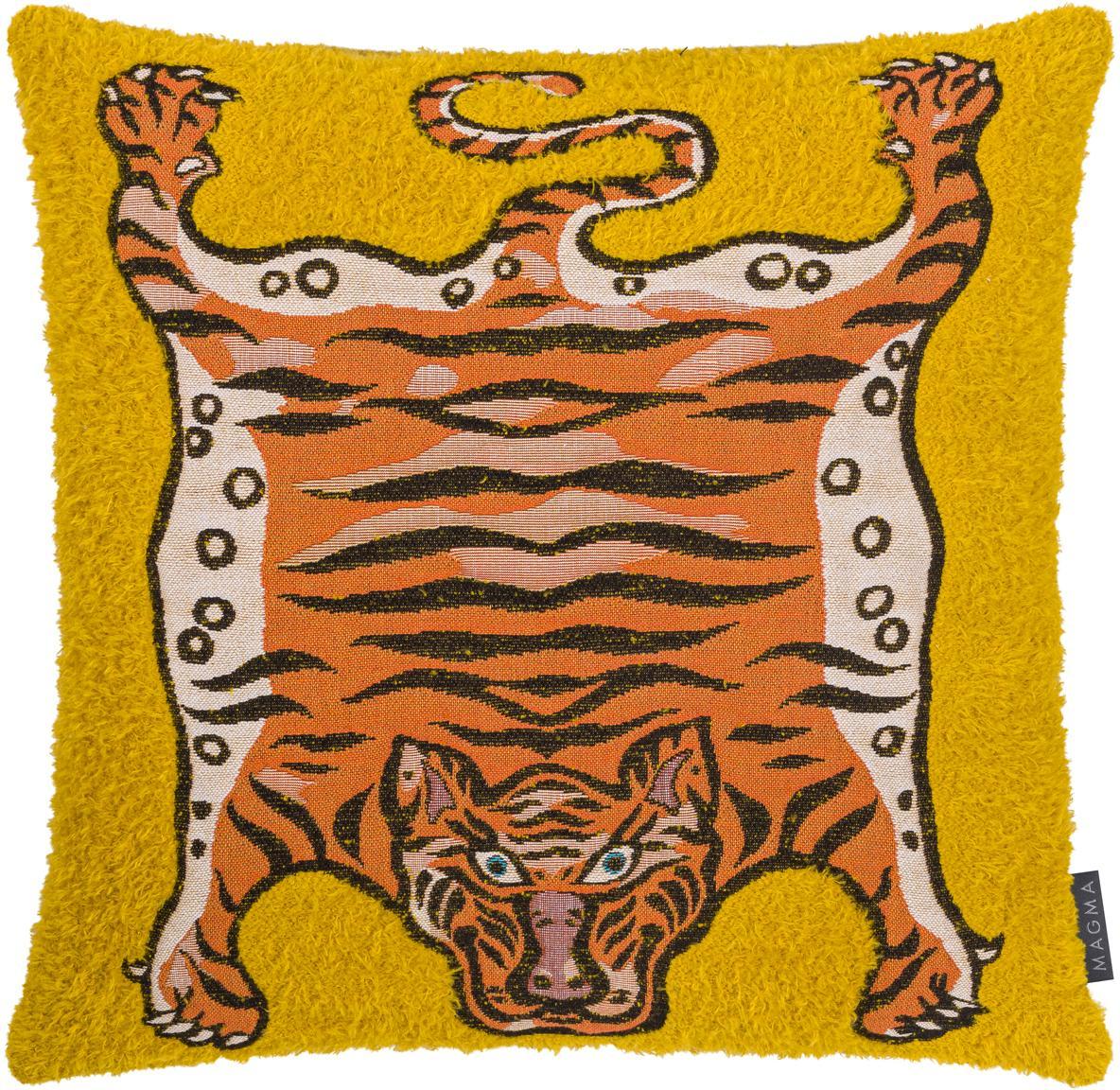 Kissenhülle Tigris, Webart: Jacquard, Gelb, Orange, Schwarz, 45 x 45 cm