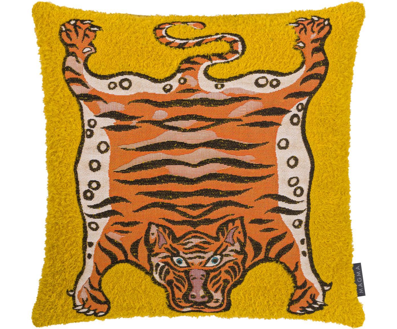 Kussenhoes Tigris, Weeftechniek: jacquard, Geel, oranje, zwart, 45 x 45 cm