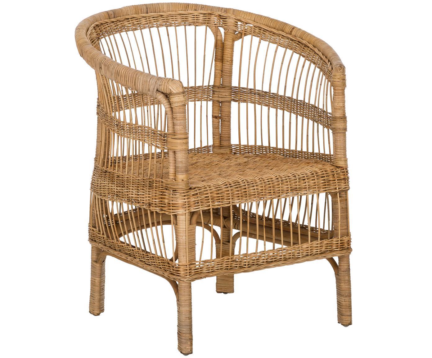 Fotel z rattanu Palma, Ratan, Beżowobrązowy, S 60 x G 70 cm
