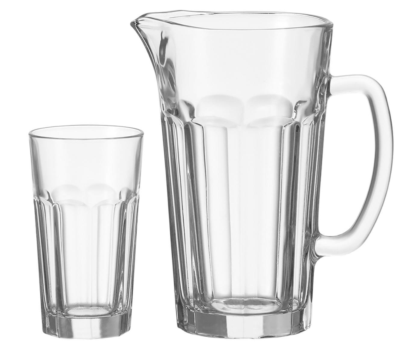 Jarra Rock con vasos, 7pzas., Vidrio, Transparente, Tamaños diferentes