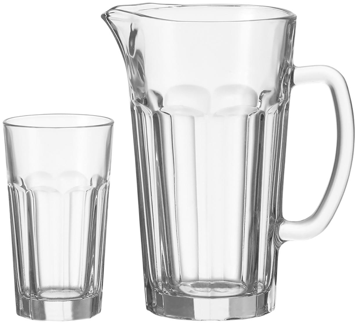 Krug Rock mit Gläsern, 7-tlg., Glas, Transparent, Sondergrößen
