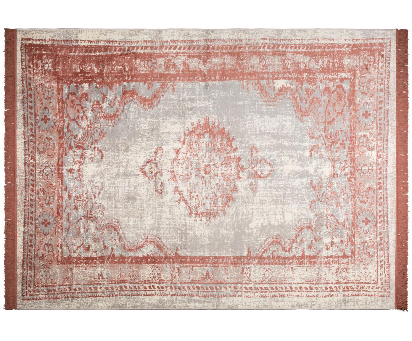 Vintage Teppich Marvel mit Fransen, Flor: 66% Kunstseide, 25% Baumw, Lachsrot und Beigetöne, B 200 x L 300 cm (Grösse L)