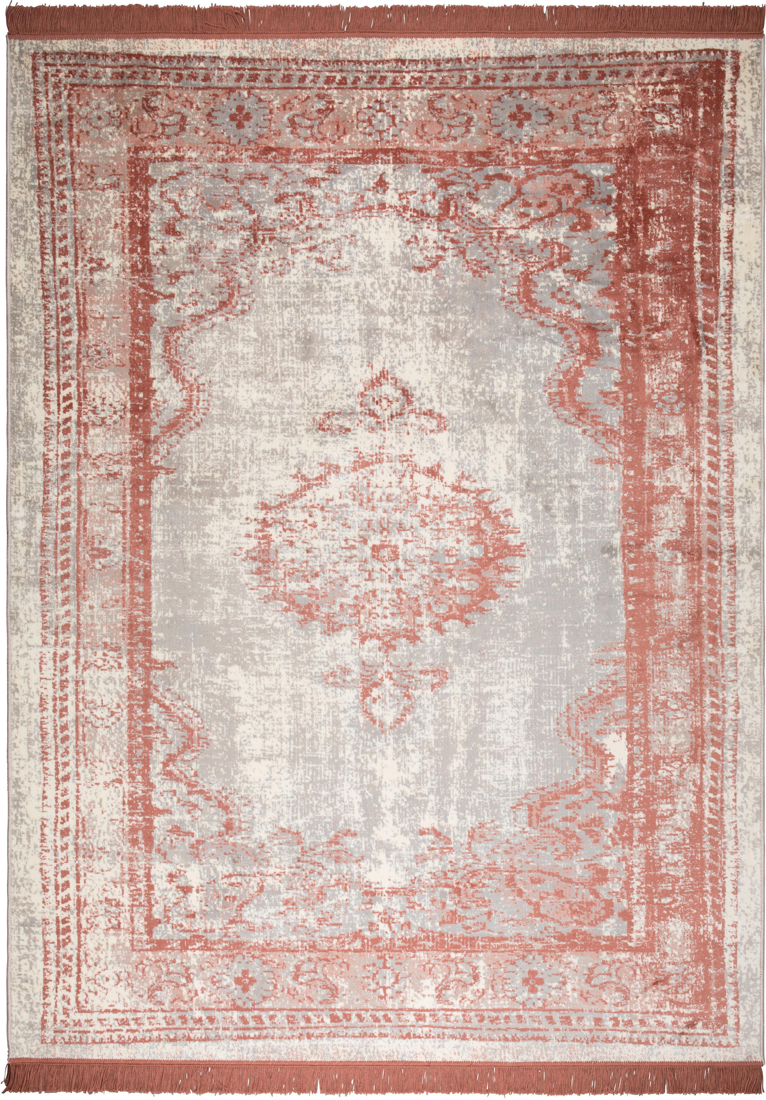 Vintage Teppich Marvel mit Fransen, Flor: 66% Kunstseide, 25% Baumw, Lachsrot und Beigetöne, B 200 x L 300 cm (Größe L)