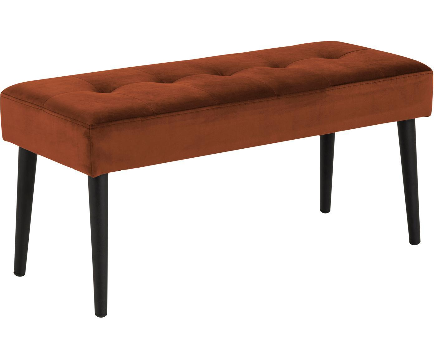 Samt-Sitzbank Glory, Bezug: Polyestersamt 25.000 Sche, Gestell: Metall, pulverbeschichtet, Kupferfarben, 95 x 45 cm