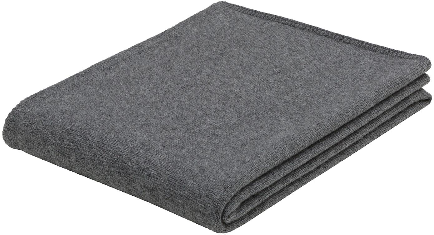 Paid in maglia fine di cashmere Viviana, 70% cashmere, 30% lana merino, Grigio scuro, Larg. 130 x Lung. 170 cm