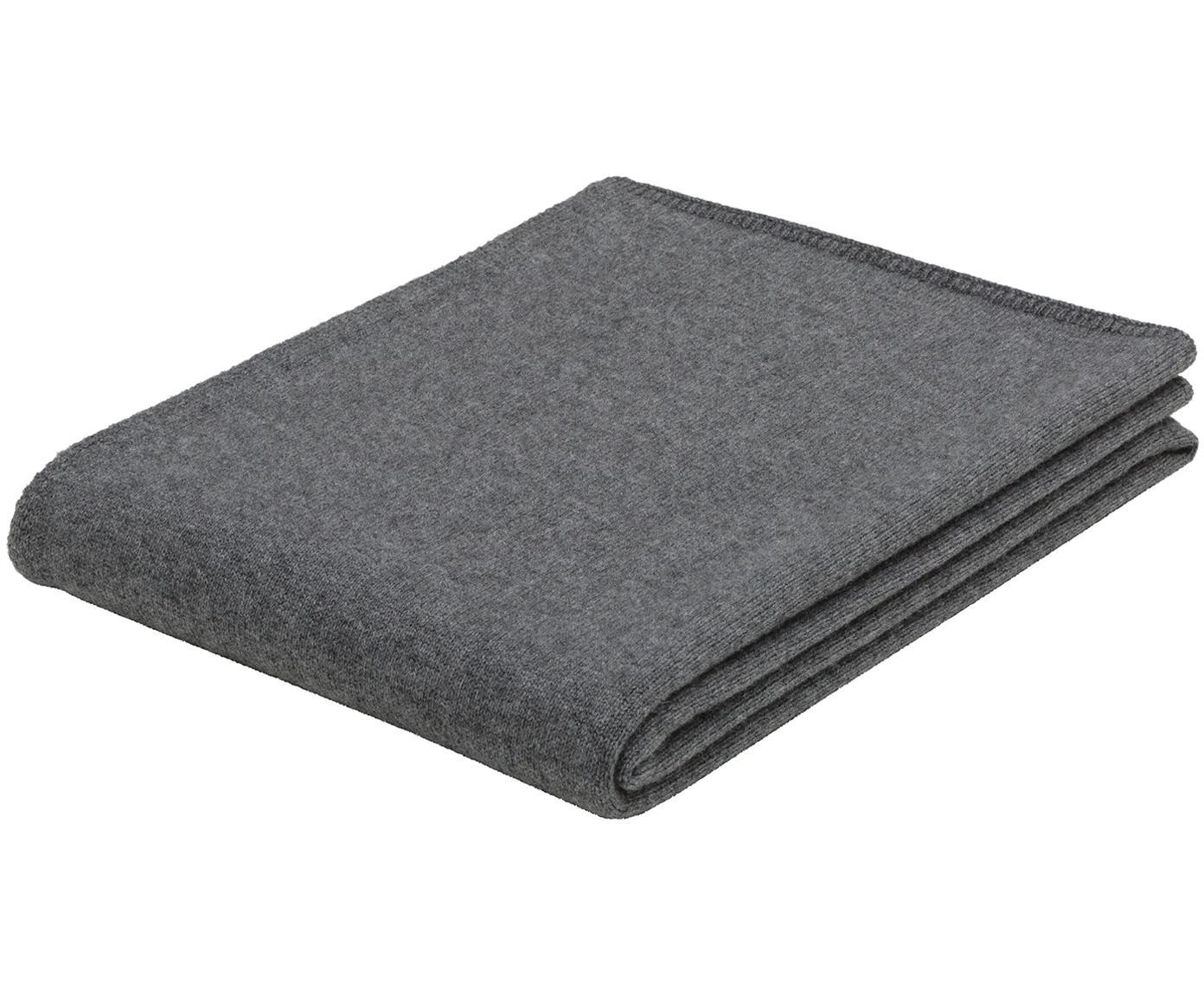 Manta de cachemira finamente tejida Viviana, 70%cachemira, 30%lana merino, Gris oscuro, An 130 x L 170 cm