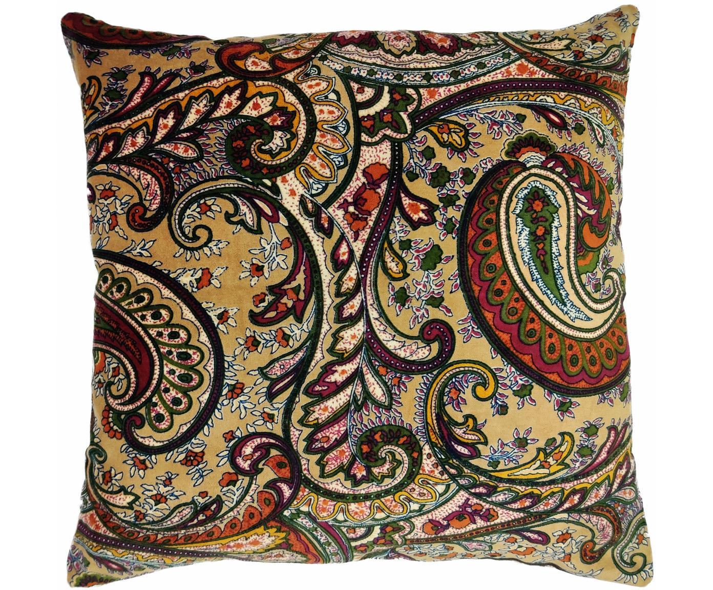 Cojín Paisley, con relleno, Funda: 100%algodón, Beige, multicolor, An 45 x L 45 cm