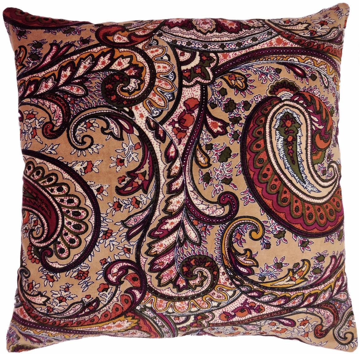 Cuscino con imbottitura Paisley, Rivestimento: 100% cotone, Beige, multicolore, Larg. 45 x Lung. 45 cm