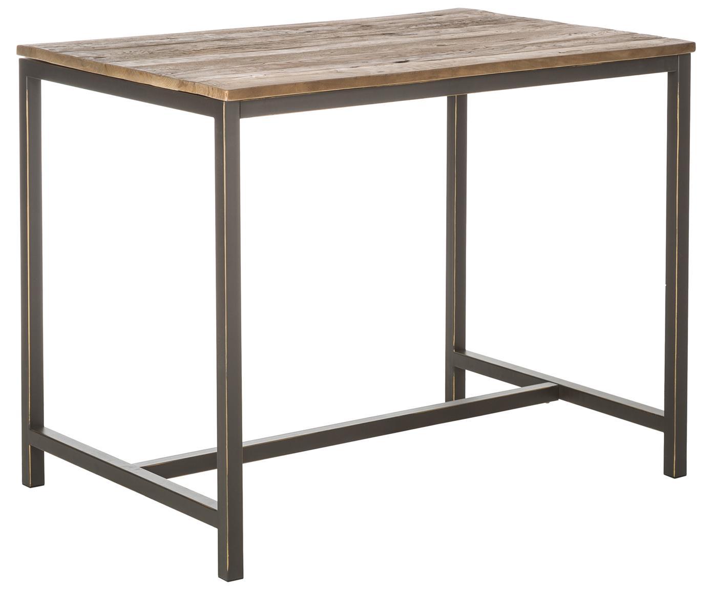 Tavolo da bar con piano in legno massello Vintage, Struttura: acciaio verniciato a polv, Piano d'appoggio: legno di olmo, spazzolato, Olmo, nero, Larg. 130 x Alt. 104 cm