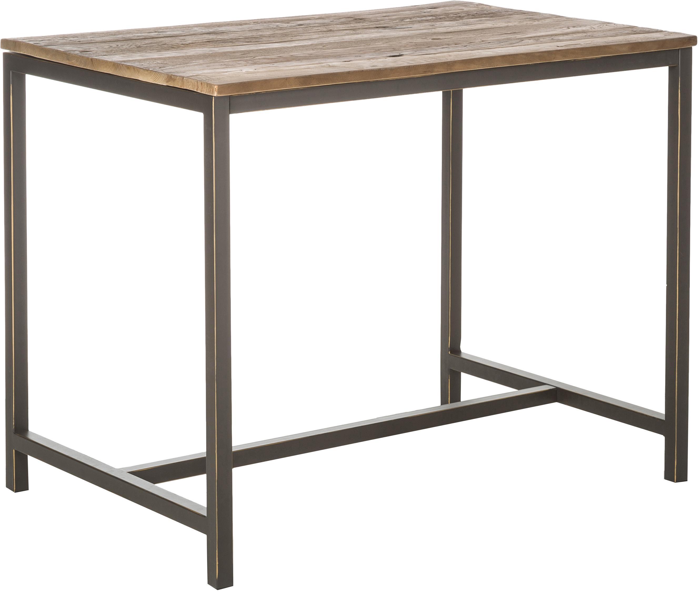 Stehtisch Vintage mit Massivholzplatte, Gestell: Stahl, pulverbeschichtet, Tischplatte: Ulmenholz, gebürstet und , Ulme, Schwarz, 130 x 104 cm