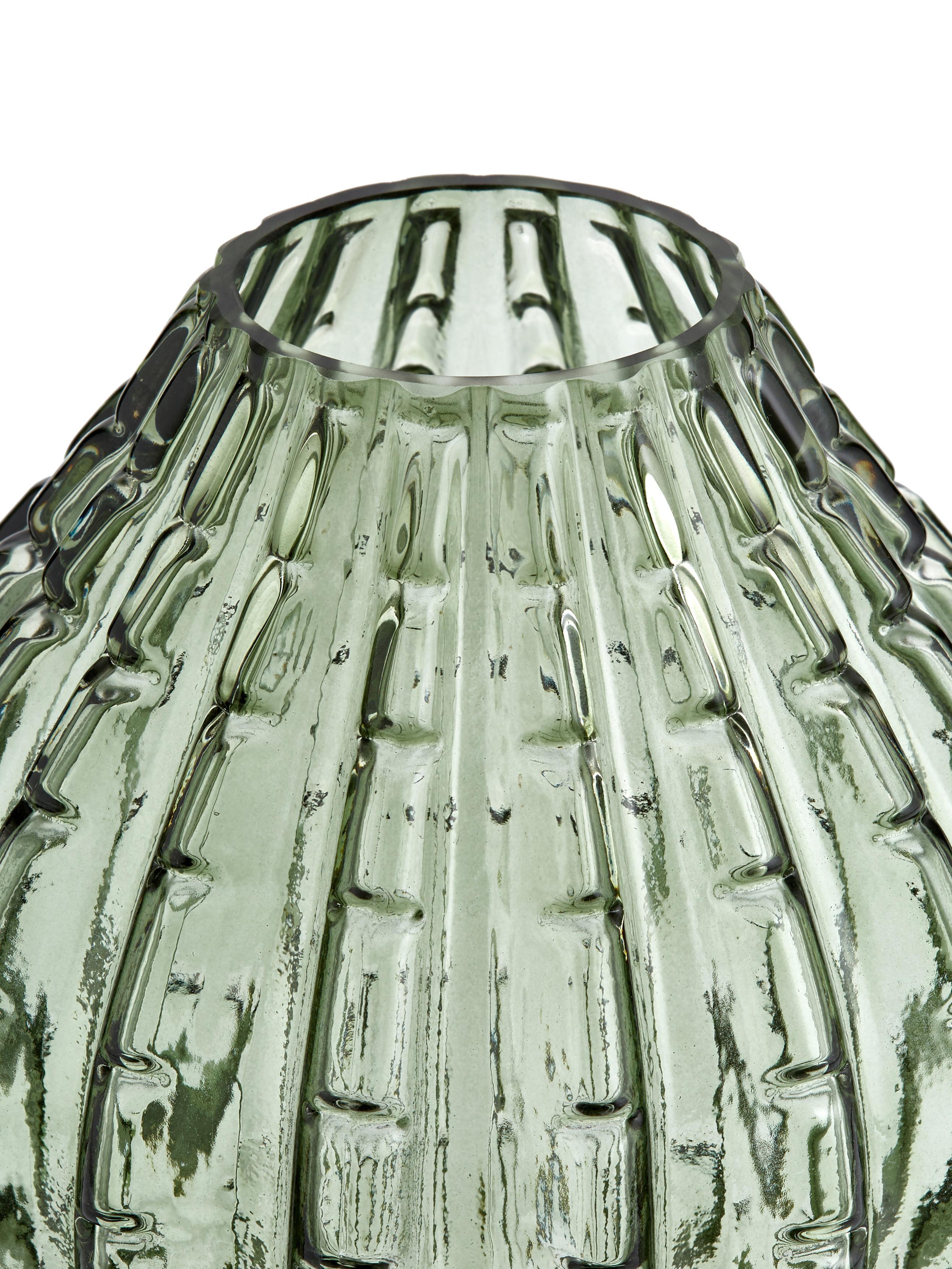 Glas-Vase Lioba in Grün, Glas, Grün, Ø 15 x H 17 cm