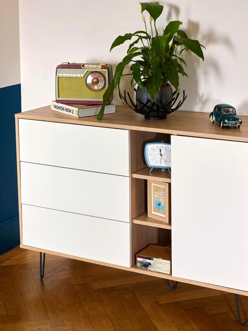 Design-Sideboard Aero mit Schubladen, Korpus: Spanplatte, melaminbeschi, Füße: Metall, lackiert, Eichenholz, Weiß, 120 x 80 cm