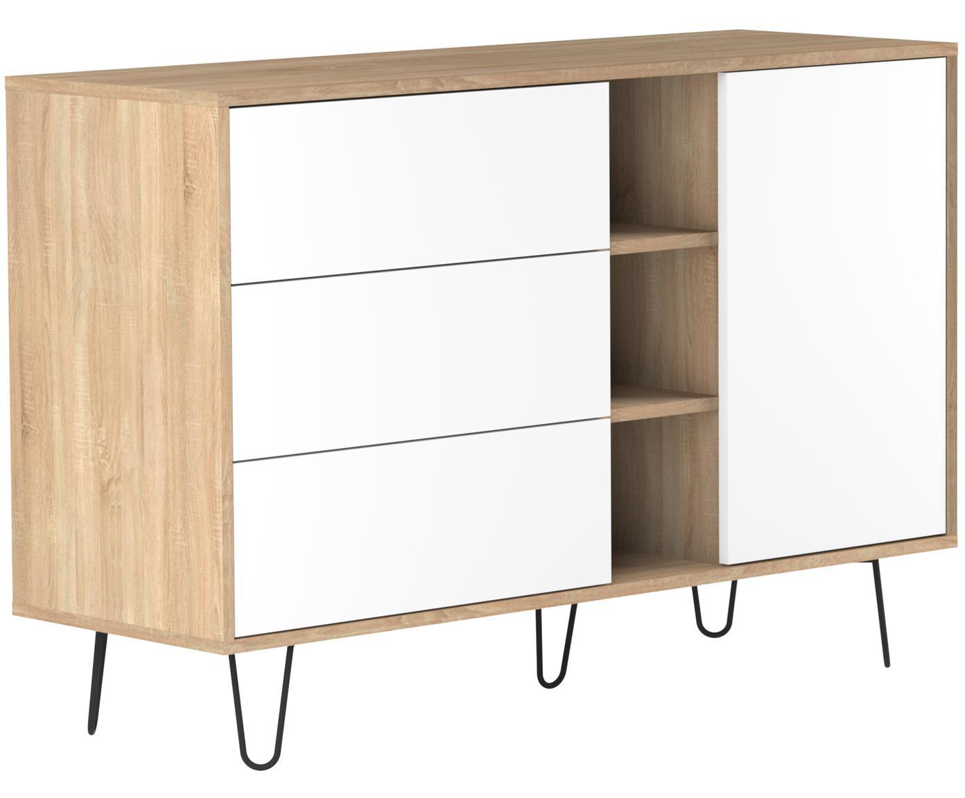 Design dressoir Aero met lades, Frame: spaanplaat, melamine bekl, Poten: gelakt metaal, Eikenhoutkleurig, wit, 120 x 80 cm