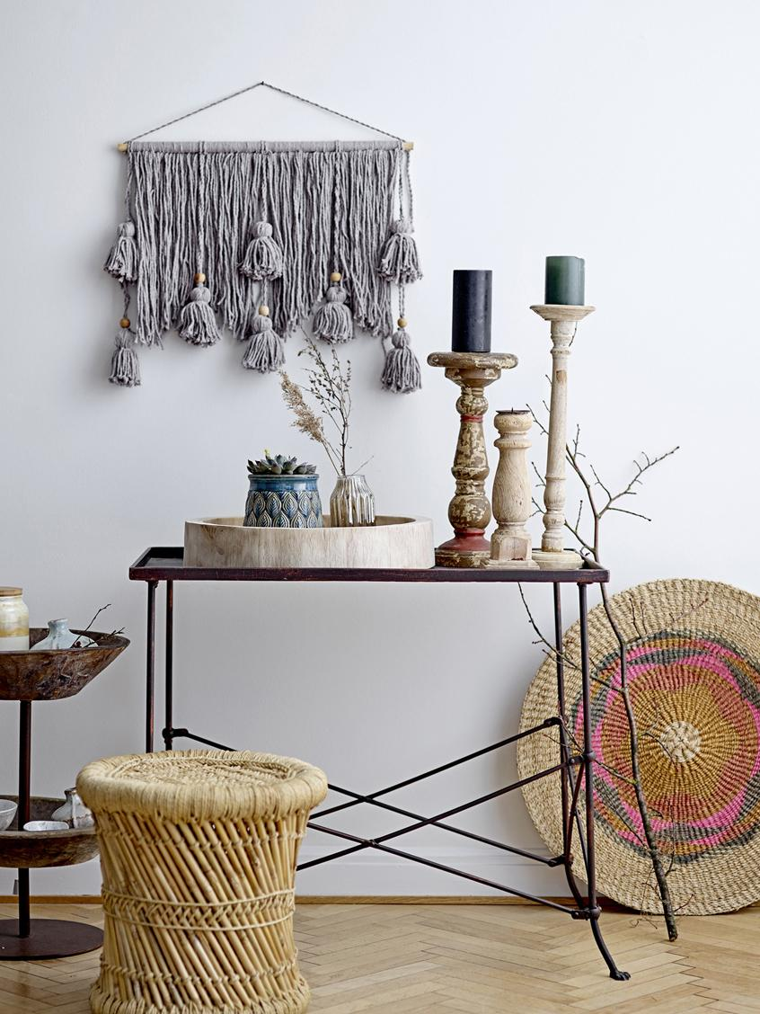 Wandobjekt Lotus aus Baumwolle, Baumwolle, Grau, 56 x 45 cm