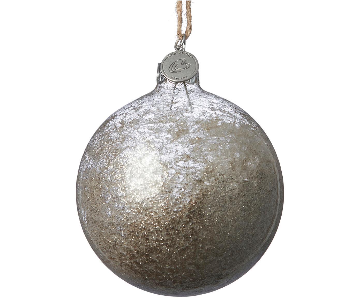 Kerstballen Velma, 2 stuks, Goudkleurig, transparant, Ø 8 x H 8 cm
