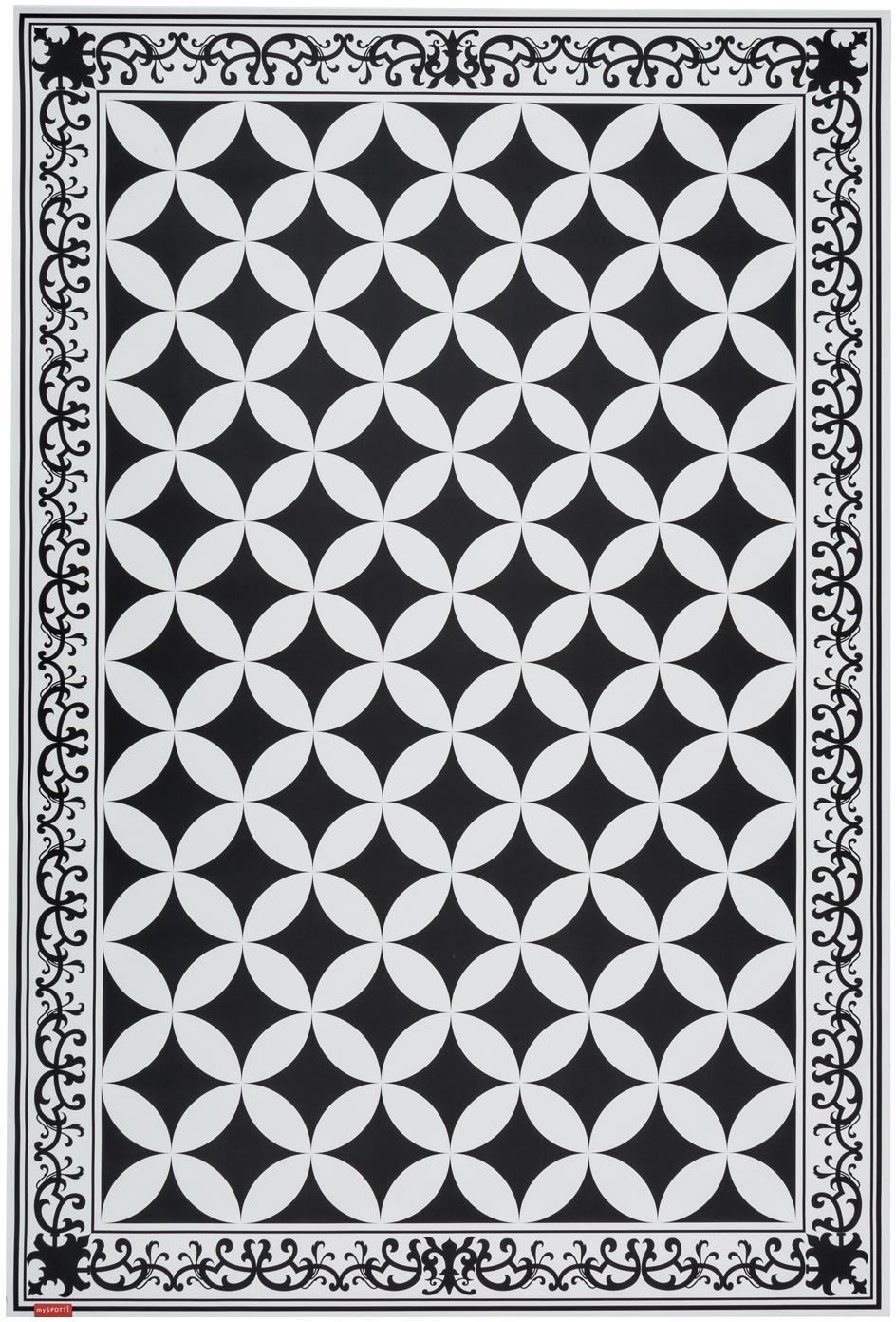 Vinyl-Bodenmatte Chadi, Vinyl, Schwarz, Weiß, 136 x 203 cm