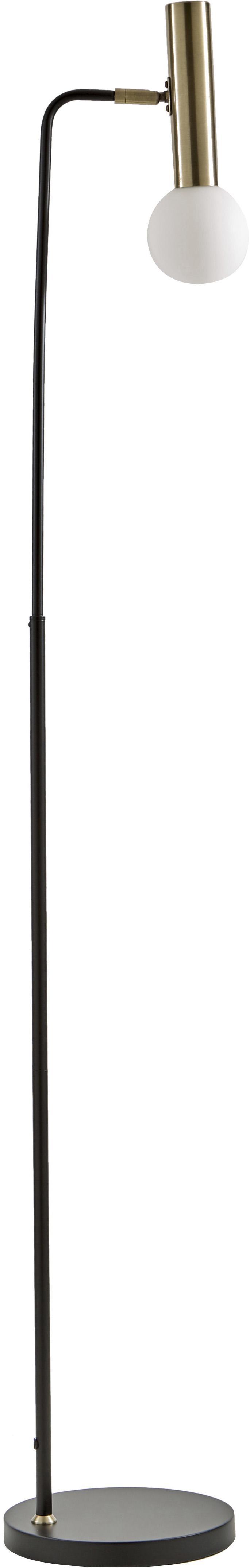 Lampada da terra Wilson, Base della lampada: metallo, Paralume: vetro, Nero, Ø 23 x Alt. 153 cm
