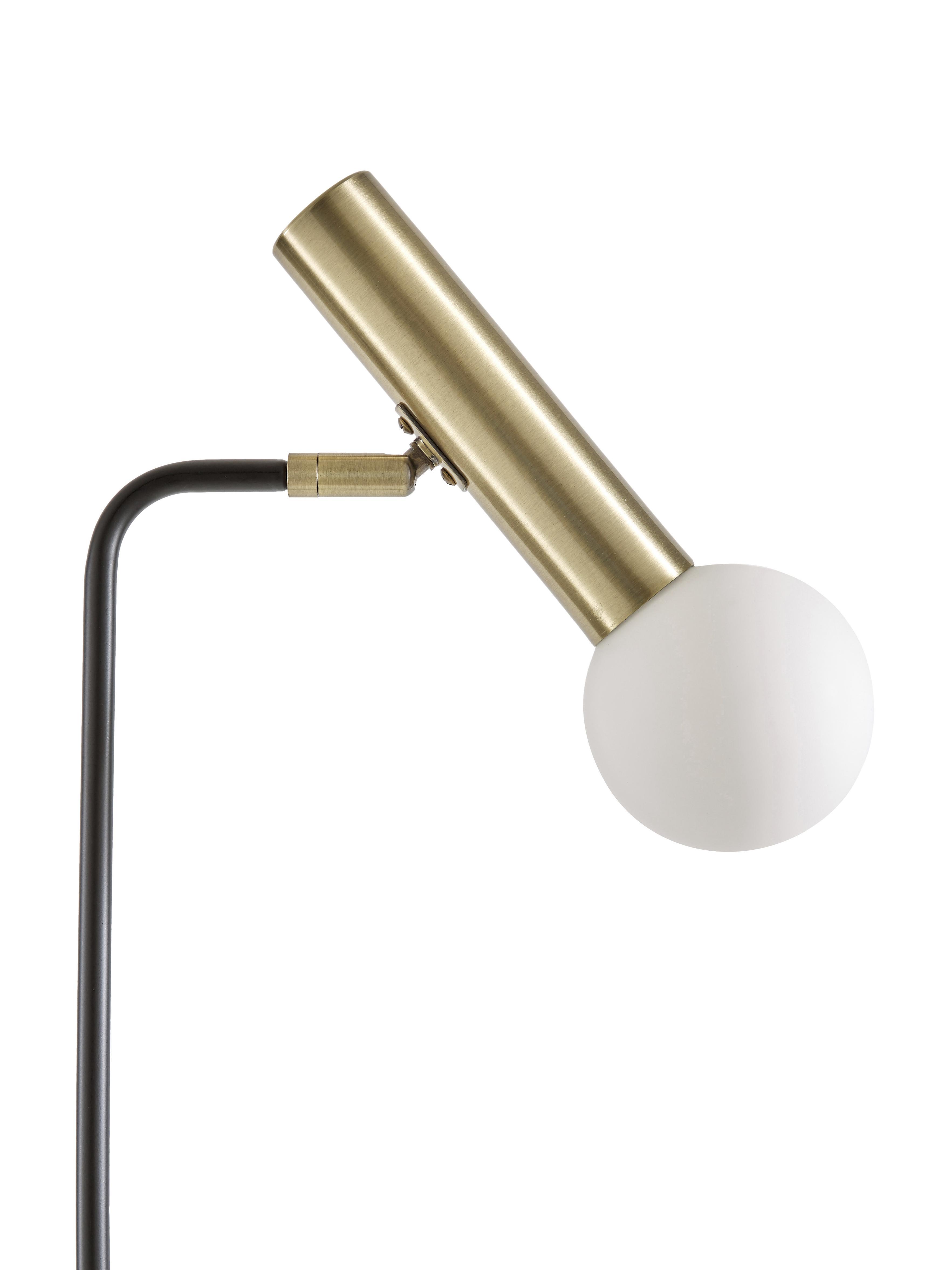 Leeslamp Wilson, Lampvoet: metaal, Lampenkap: glas, Zwart, Ø 23 x H 153 cm