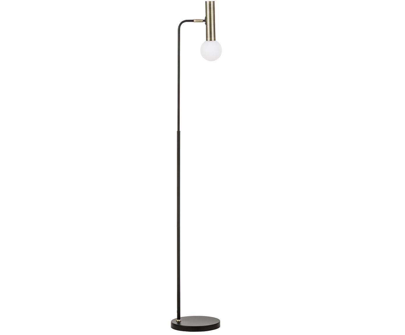Lámpara de pie LEDWilson, Pantalla: vidrio, Cable: tela, Negro, Ø 23 x Al 153 cm