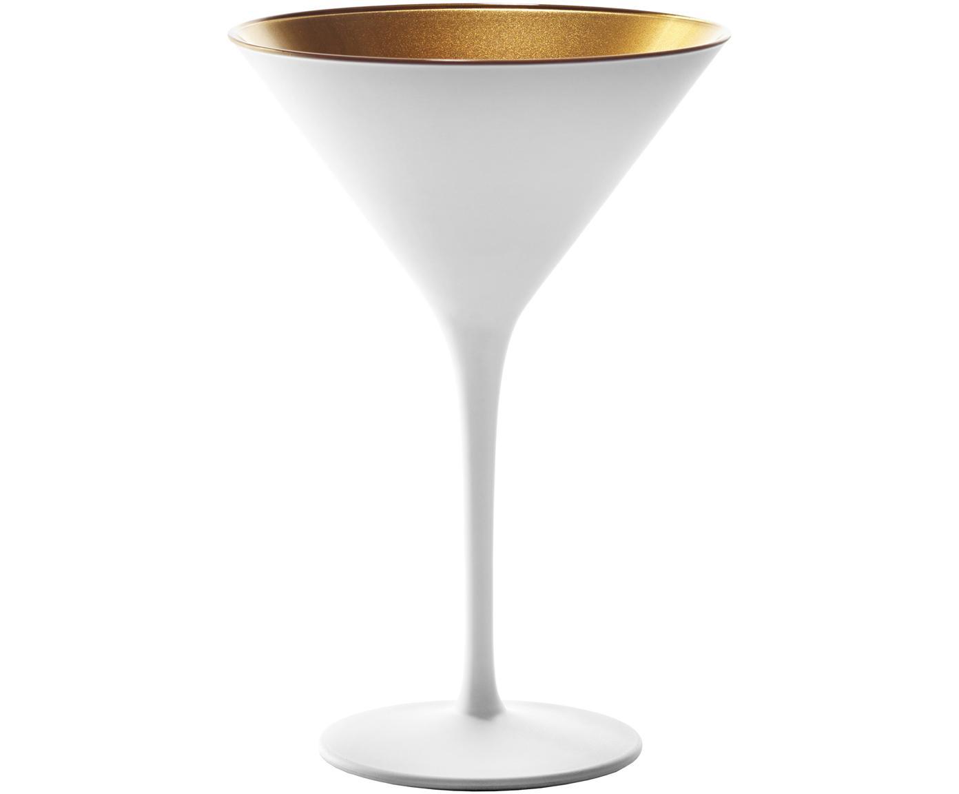 Kristallen cocktailglazen Elements in wit/goud, 6 stuks, Gecoat kristalglas, Wit, goudkleurig, Ø 12 x H 17 cm