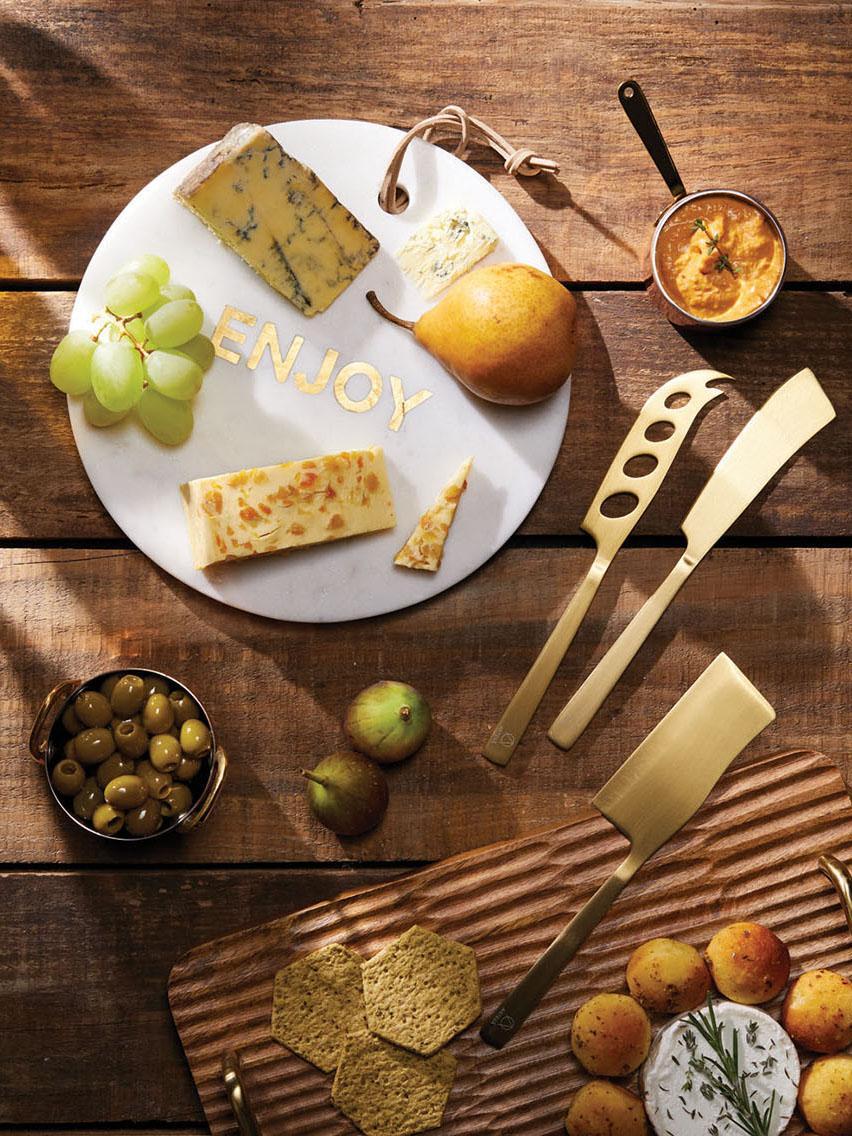 Couteaux à fromage en acier inoxydable dorée Art, 3élém., Couleur laitonnée