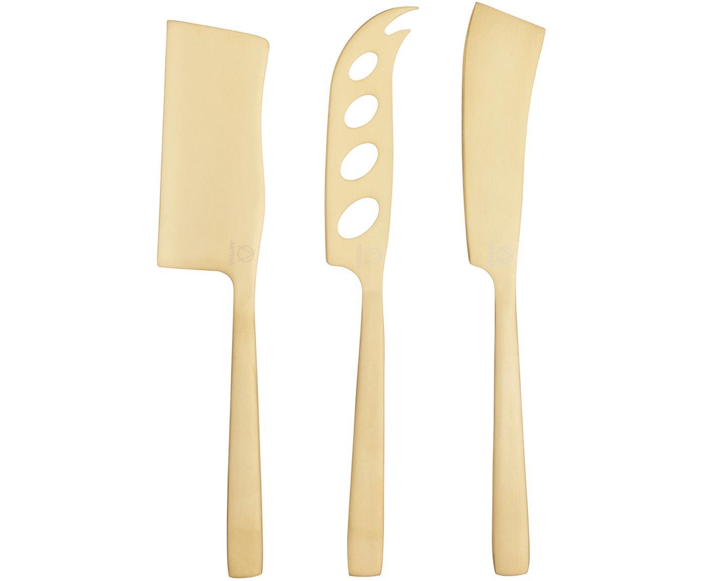 Komplet noży do sera ze stali szlachetnej Art, 3 elem., Stal szlachetna, powlekana, Odcienie mosiądzu, D 230 x W 10 cm