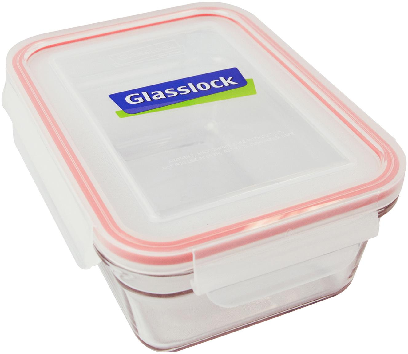 Vershoudbakken Bea, 2 stuks, Houder: gehard glas, vrij van ver, Sluiting: polypropyleen, Seal: siliconen, Transparant, roze, 18 x 7 cm