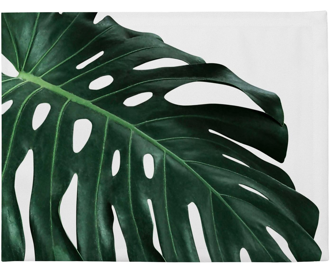 Manteles individuales Monstera, 4uds., Poliéster, Verde, blanco, An 35 x L 45 cm
