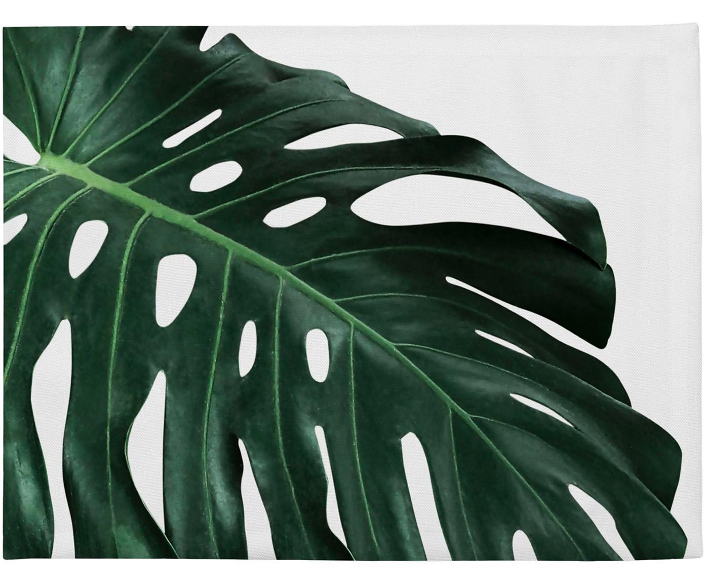 Placemats Monstera, 4 stuks, Polyester, Groen, wit, 35 x 45 cm