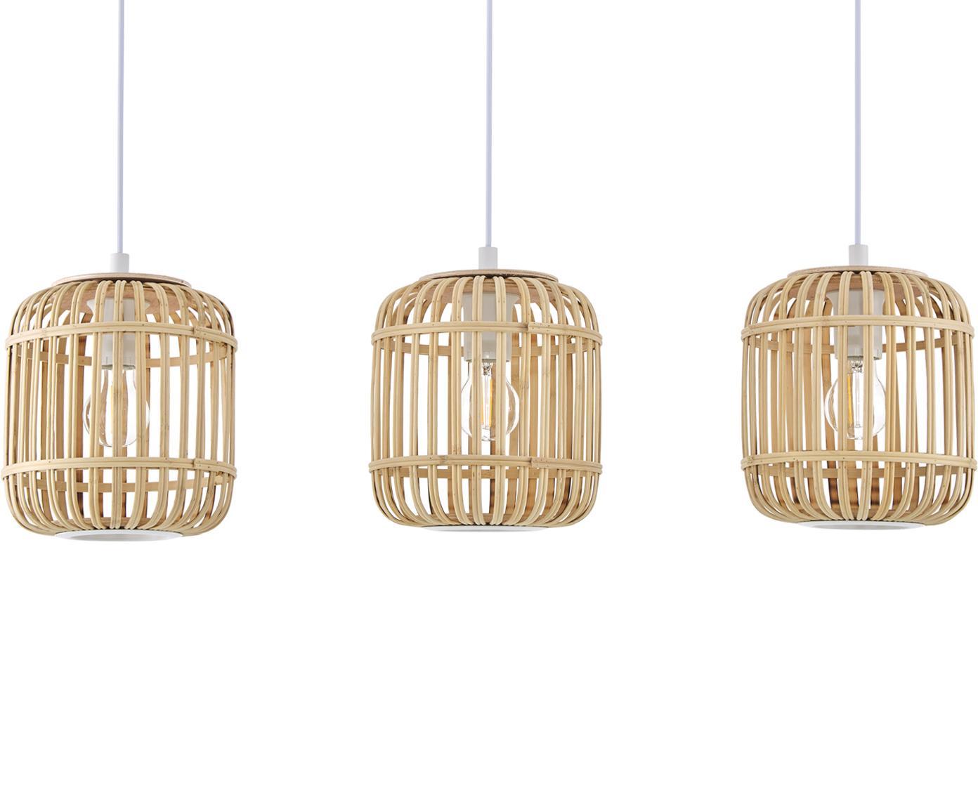 Lámpara de techo Adam, Cable: plástico El bambú es una , Blanco, beige, An 78 x Al 110 cm