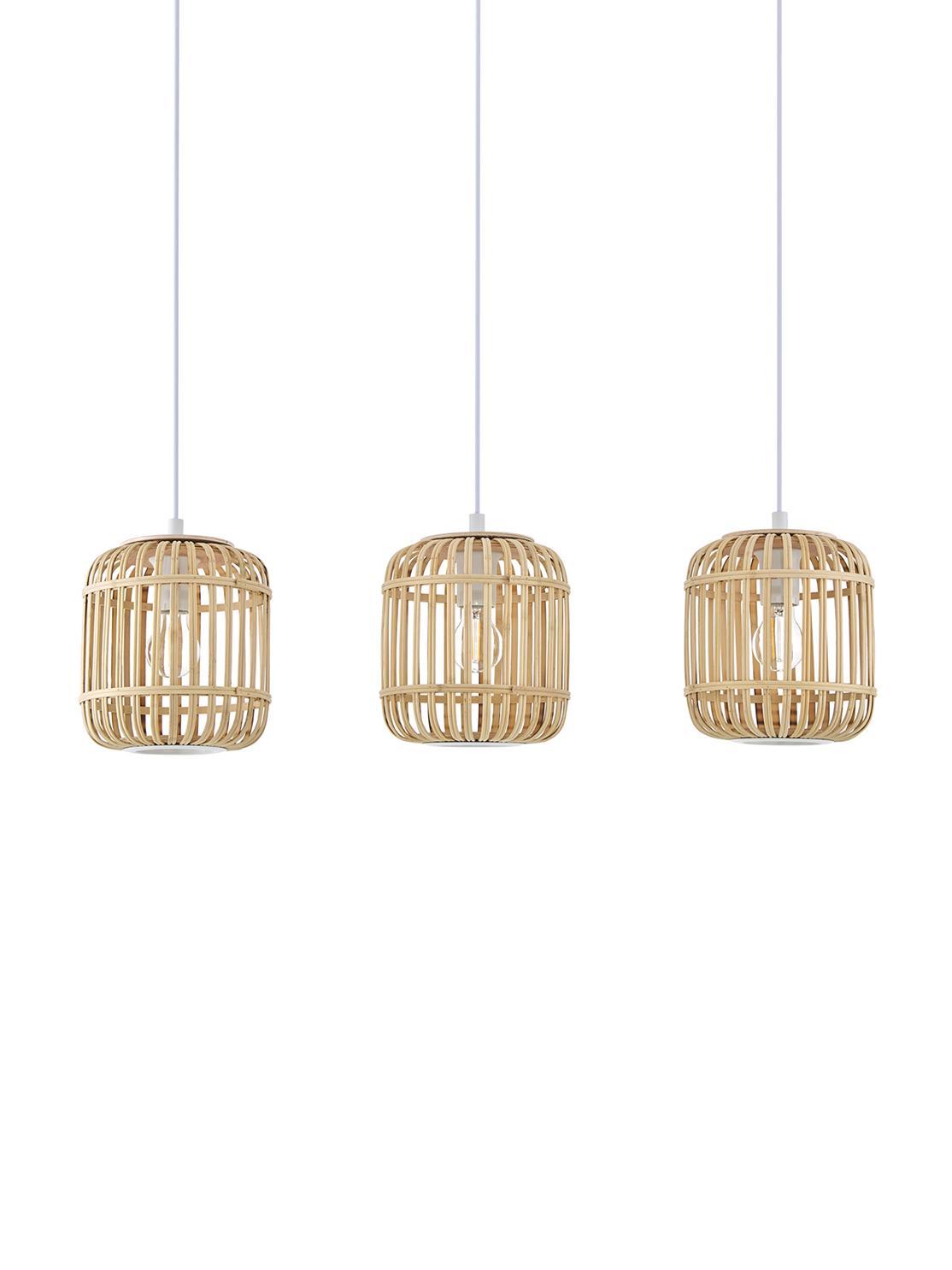 Lampa wisząca z drewna bambusowego Adam, Biały, beżowy, S 78 x W 110 cm