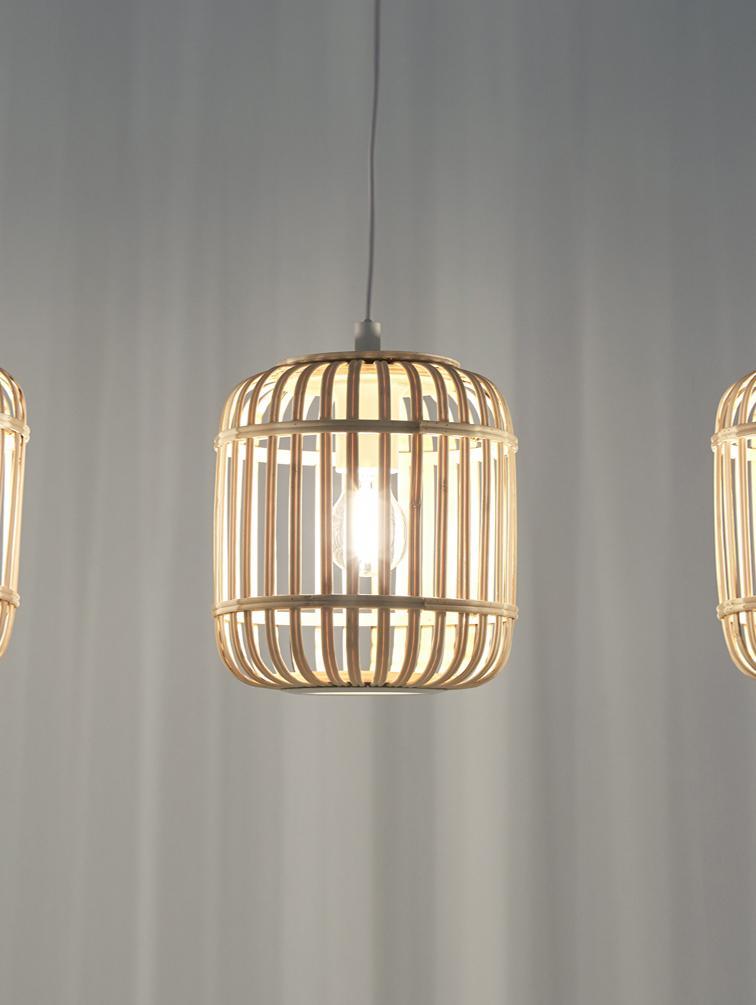Hanglamp Adam van bamboehout, Wit, beige, 78 x 110 cm