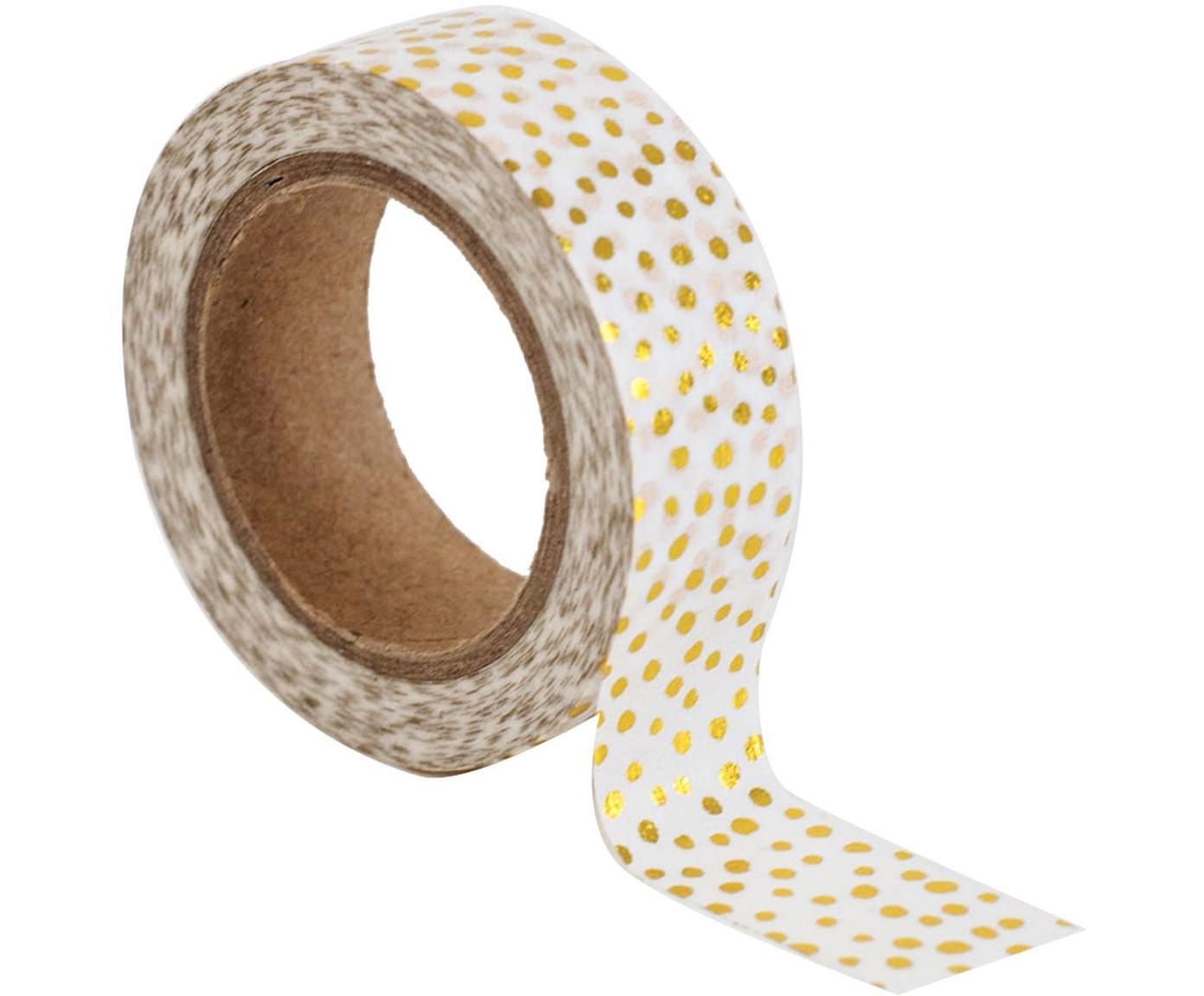 Plakband Dotty, 3 stuks, Kunststof, Wit, goudkleurig, L 1000 cm